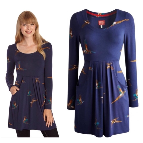 b374d3776a2a49 Joules Alexi Tunic Dress in Navy Pheasant